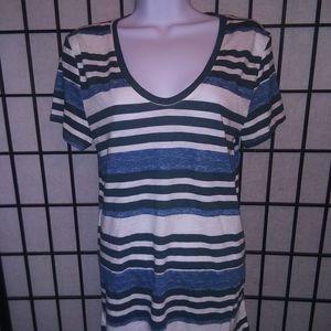 Loft teal/green striped T